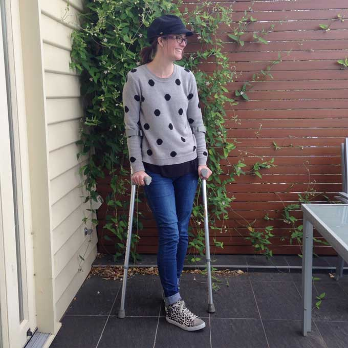 The return of the dreaded crutches. Le sigh.